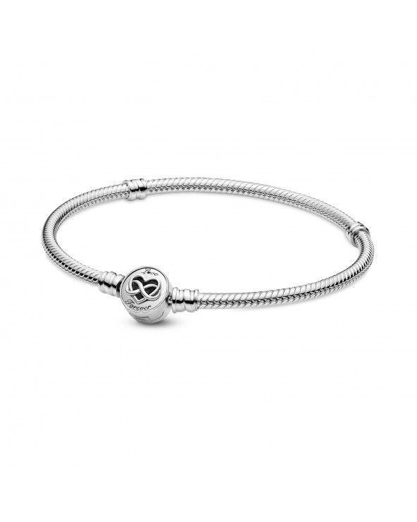 Bracciale Pandora Moments con maglia snake e chiusura con cuore e simbolo dell'infinito