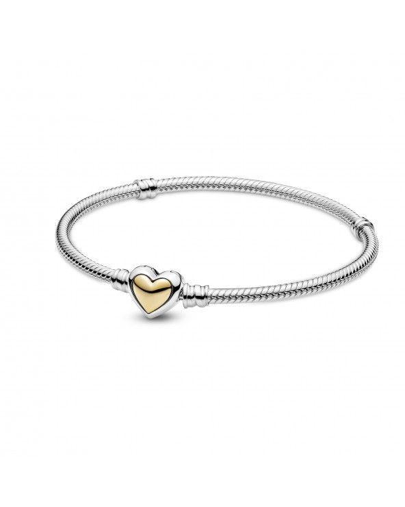 Pandora Bracciale con maglia snake e chiusura a cuore dorata a