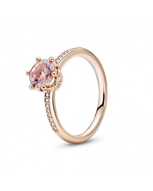 Pandora Anello con solitario corona rosa scintillante