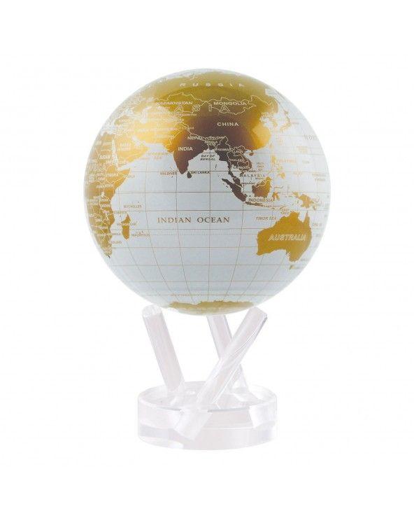 "MOVA GLOBE Mova globo 4,5"" mappa bianca e oro c/base acrilico"