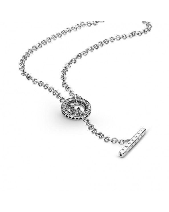 Pandora Collana con cuore, barretta a t, logo e cerchio con pavé