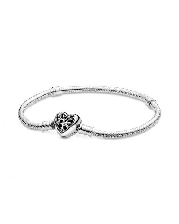 Bracciale Pandora Moments con maglia snake, chiusura a cuore e albero della vita