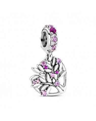 Charm pendente a cuore rosa Albero della famiglia