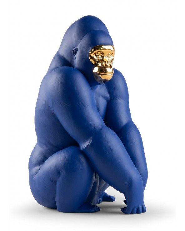 Lladrò Figurina gorilla. Azzurro e oro. Serie limitata
