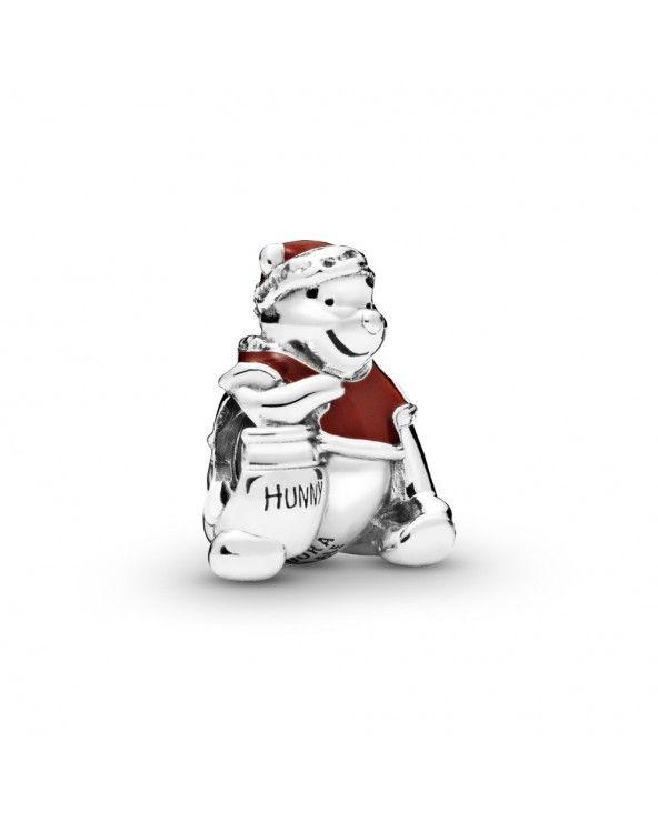 Pandora Disney, charm winnie the pooh natalizio con vasetto di