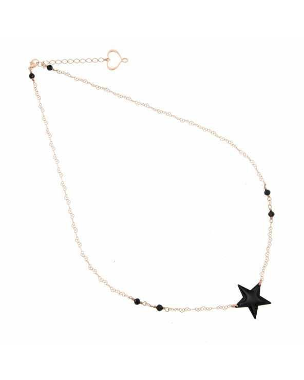Girocollo di catena a cuori con stella nera Maman et Sophie