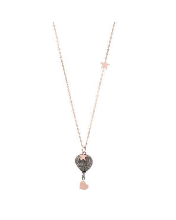 Collana di catena con cuoricino, stellina e mongolfiera Maman et Sophie