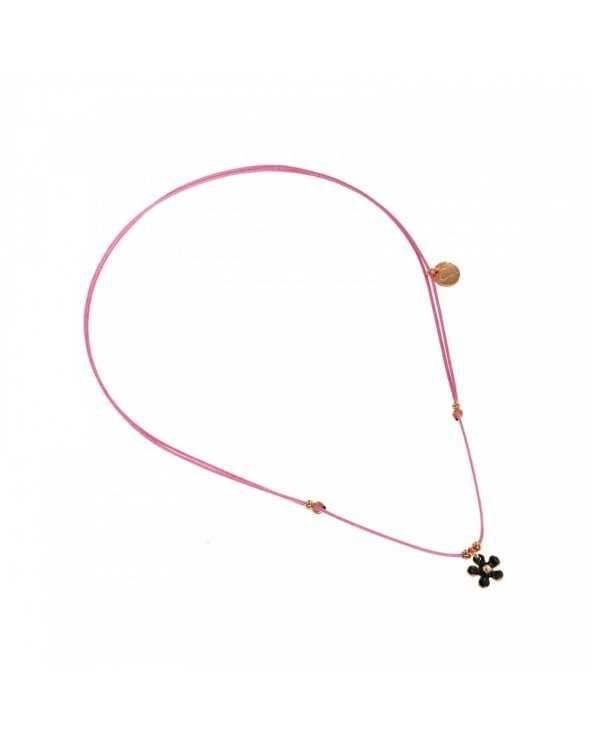 Girocollo di filo rosa con fiore nero Maman et Sophie