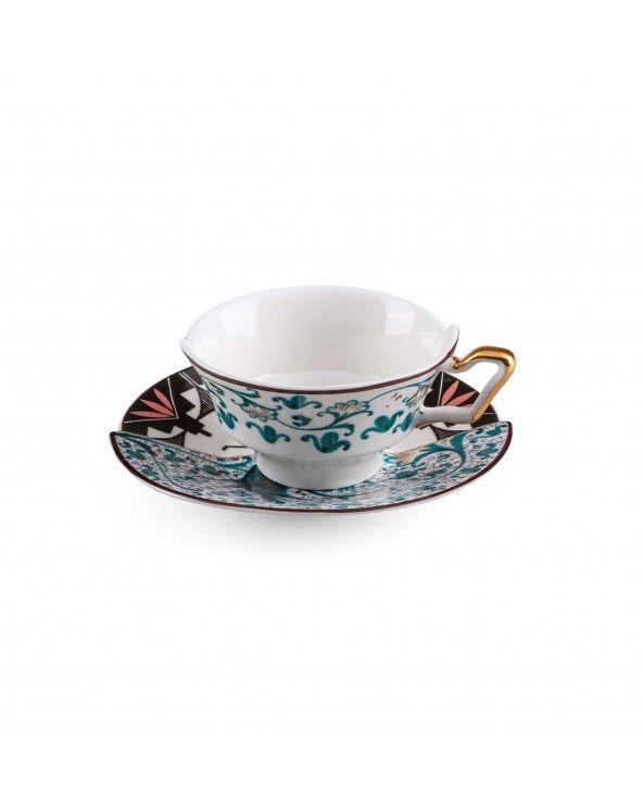 Seletti Tazza da tè con piattino hybrid aspero