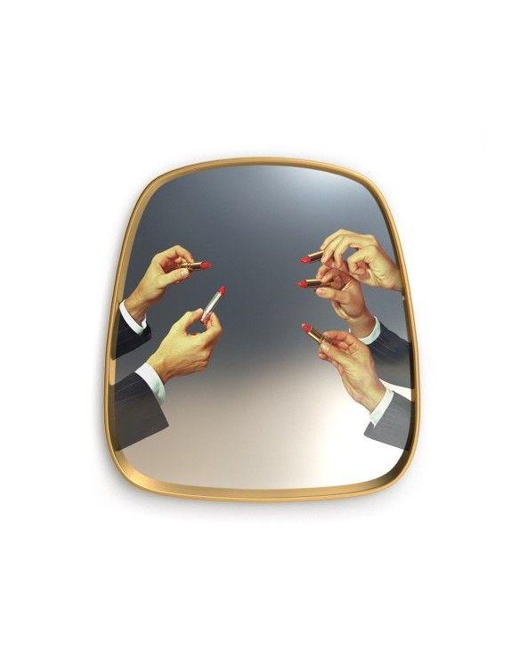 Seletti Specchio con cornice dorata toiletpaper lipsticks