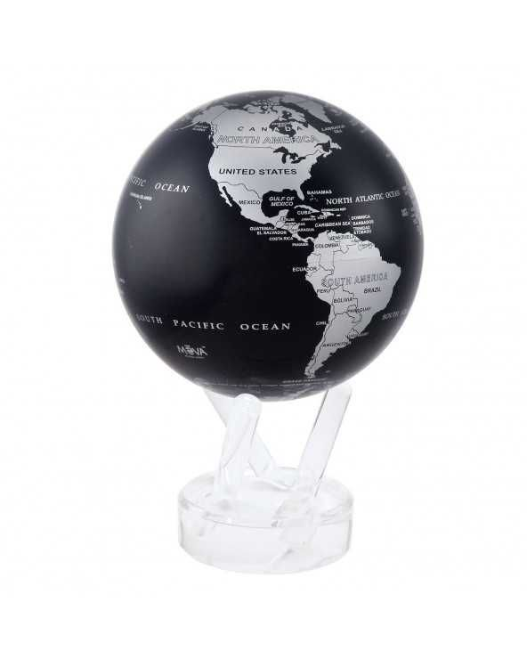 """MOVA GLOBE Mova globo 4,5"""" mappa silver e nero c/base acrilico"""