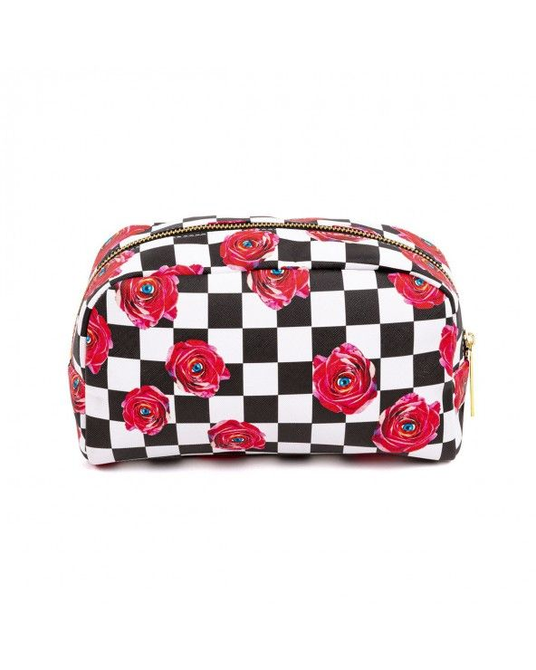 Seletti Beauty-case toiletpaper roses on check