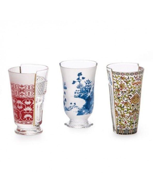 Seletti Set di tre bicchieri da cocktail hybrid clarice