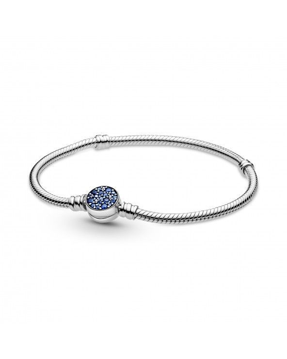 Bracciale Pandora Moments con maglia snake e chiusura a disco blu scintillante