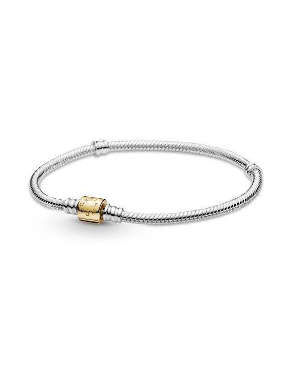Bracciale bicolore Pandora Moments con maglia snake e chiusura a barilotto