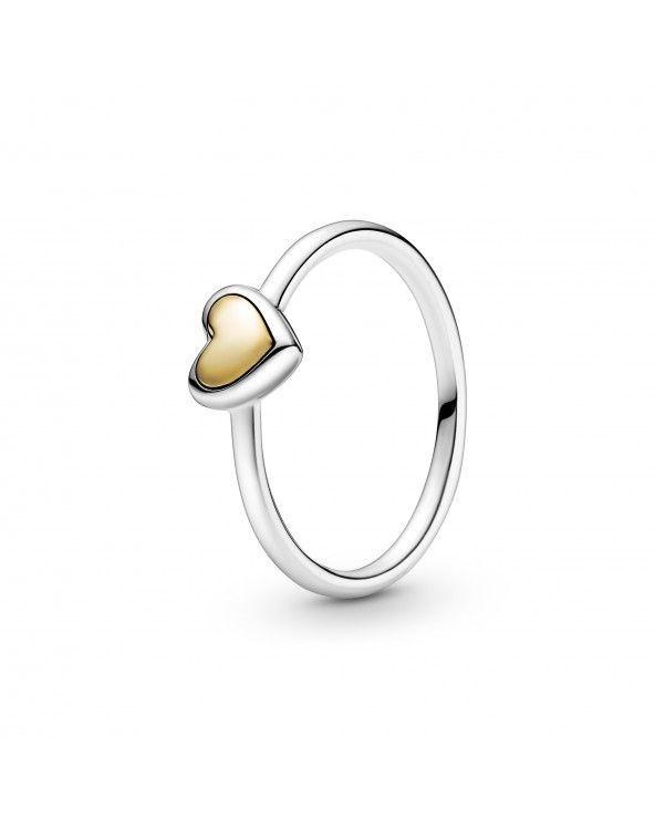 Pandora Anello con cuore dorato a cupola